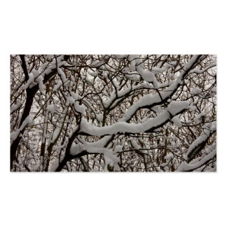 Snow covered tree branches business card template
