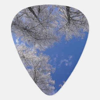 Snow Covered Trees And Sky Guitar Pick