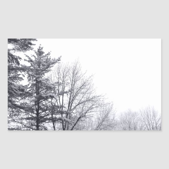 Snow-covered Trees: Horizontal Rectangular Sticker