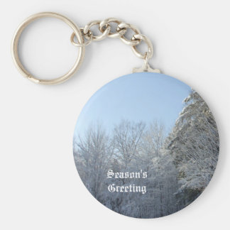 Snow Covered  Trees in Morning Basic Round Button Key Ring