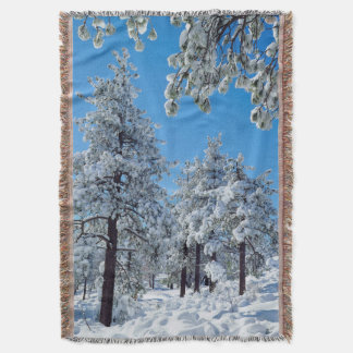 Snow-covered trees in the Laguna Mountains Throw Blanket