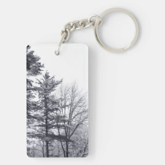 Snow-covered Trees: Vertical Double-Sided Rectangular Acrylic Key Ring