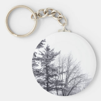 Snow-covered Trees: Vertical Basic Round Button Key Ring