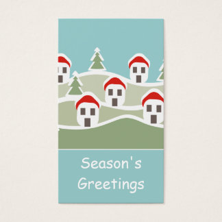 Snow Covered Village Gift Tag Business Card
