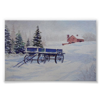 Snow Covered Wagon- poster