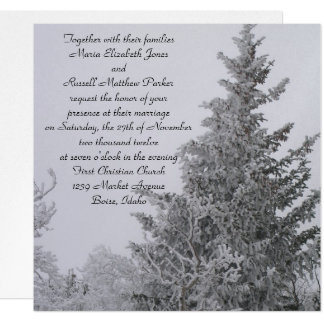 Snow Covered Winter Pine Wedding 13 Cm X 13 Cm Square Invitation Card
