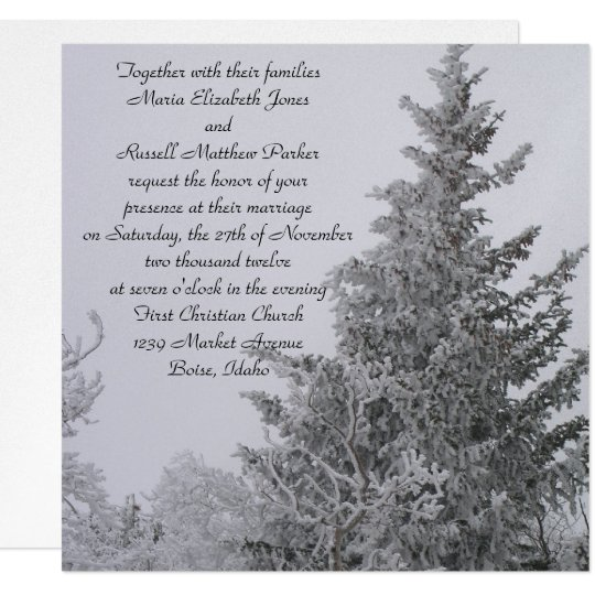Snow Covered Winter Pine Wedding Card