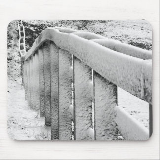Snow Covered Wood Fence Black & White Photography Mouse Mat