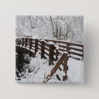 Snow Covered Wooden Bridge 15 Cm Square Badge