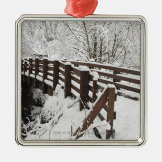 Snow Covered Wooden Bridge Christmas Ornament