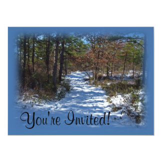 Snow Covered Woodland Path in Winter Custom Announcements