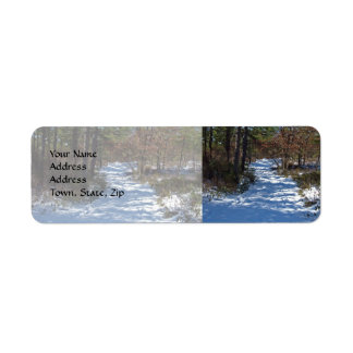 Snow Covered Woodland Path Return Address Label