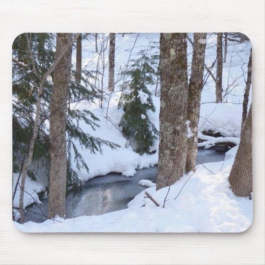 Snow Covered Woods Mouse Mat