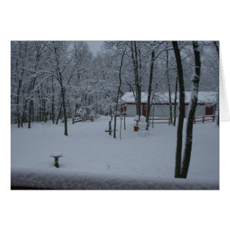 Snow covered yard holiday card