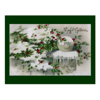 Snow Covers Holly at the Gate Vintage Xmas Postcard
