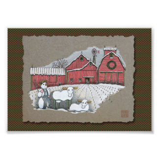 Snow Cows & Barn Photo Print