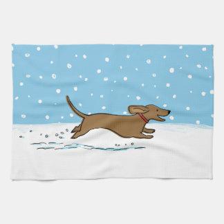 Snow Dachshund - Wiener Dog Holiday Tea Towel
