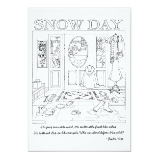 Snow Day Coloring Book Postcard