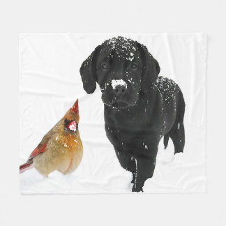 Snow Day Companions - Black Labrador & Cardinal Fleece Blanket