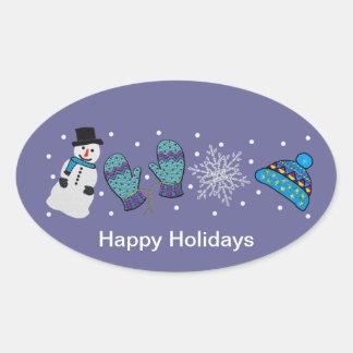 Snow Day Fun Oval Sticker