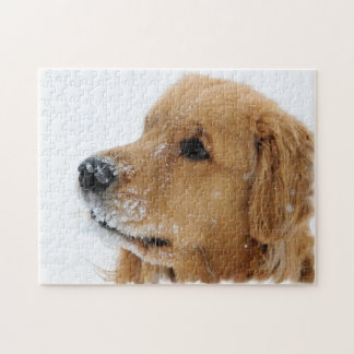 Snow Dog Golden Retriever Jigsaw Puzzle