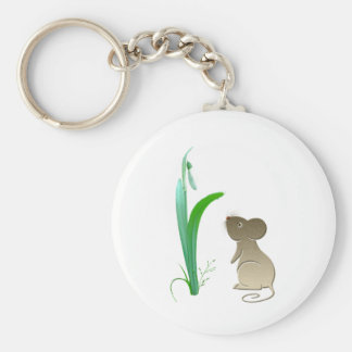Snow drop flower and Cute Mouse Basic Round Button Key Ring