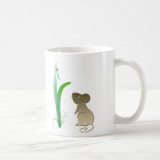 Snow drop flower and cute mouse coffee mug