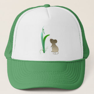 Snow drop flower and Cute Mouse Trucker Hat