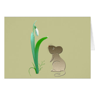 Snow drops and cute mouse card