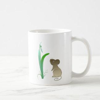 Snow drops and cute mouse coffee mug