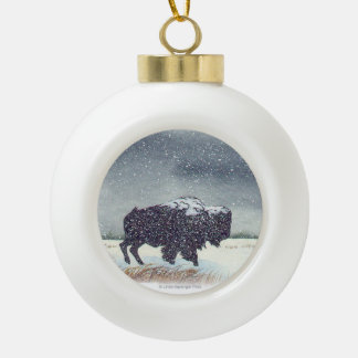 Snow dusted Buffalo Art Ceramic Ball Decoration