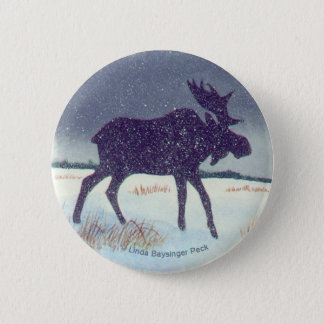 Snow Dusted Bull Moose 6 Cm Round Badge