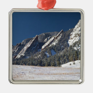 Snow Dusted Flatirons Boulder Colorado Panorama Christmas Ornament