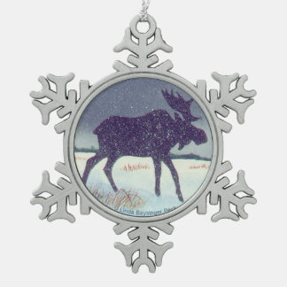 Snow Dusted Moose Painting Snowflake Pewter Christmas Ornament