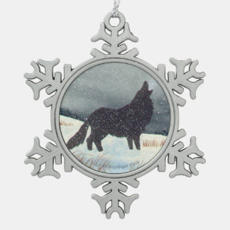 Snow Dusted Wolf Watercolor Snowflake Pewter Christmas Ornament