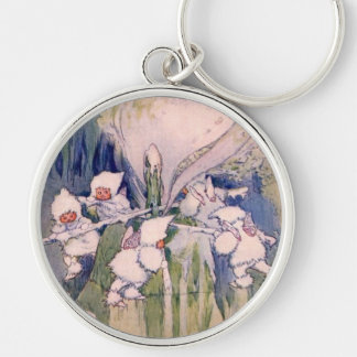 Snow Faeries Making Snow Silver-Colored Round Key Ring