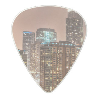 Snow falls over skyline at evening in Chicago Acetal Guitar Pick