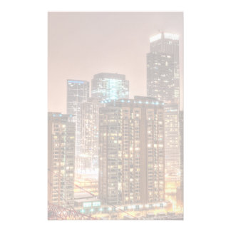 Snow falls over skyline at evening in Chicago Customised Stationery