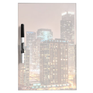 Snow falls over skyline at evening in Chicago Dry Erase Board