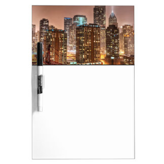 Snow falls over skyline at evening in Chicago Dry Erase Boards