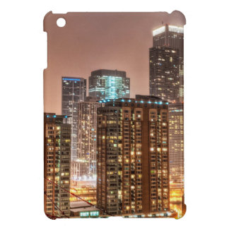 Snow falls over skyline at evening in Chicago iPad Mini Covers