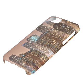 Snow falls over skyline at evening in Chicago iPhone 5C Case
