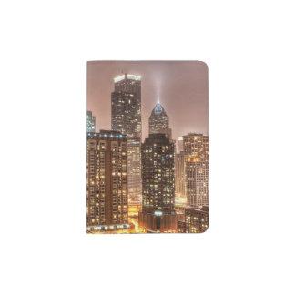 Snow falls over skyline at evening in Chicago Passport Holder