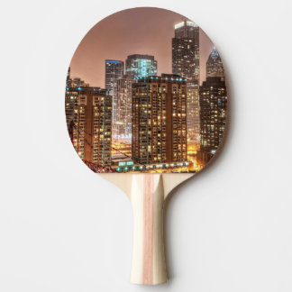 Snow falls over skyline at evening in Chicago Ping Pong Paddle