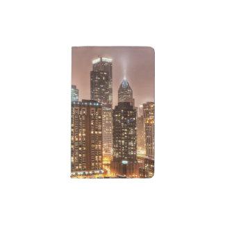 Snow falls over skyline at evening in Chicago Pocket Moleskine Notebook