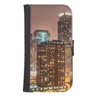 Snow falls over skyline at evening in Chicago Samsung S4 Wallet Case