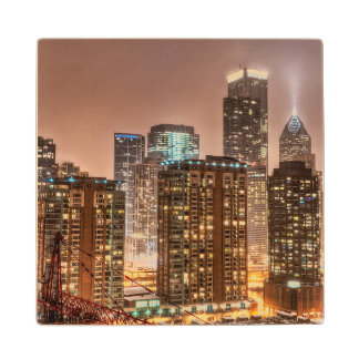 Snow falls over skyline at evening in Chicago Wood Coaster