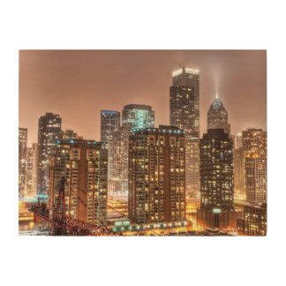 Snow falls over skyline at evening in Chicago Wood Prints