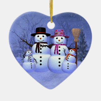 Snow Family with 2 Boys Ornament