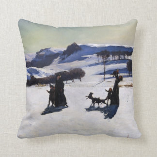 Snow Fields by an American Painter - Perfect Gift Throw Pillow